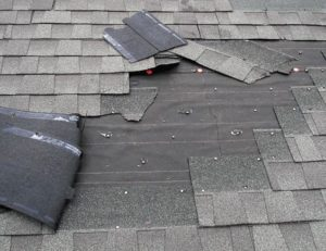 shingle removed by strong winds